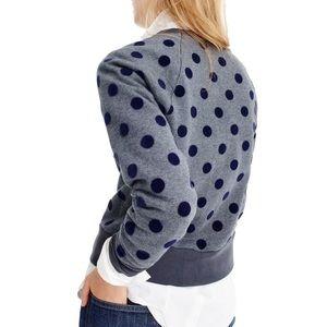 {j crew} polka dot sweatshirt